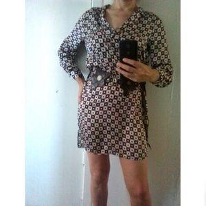 Zara Geometrical Patterns Mini Silk Dress